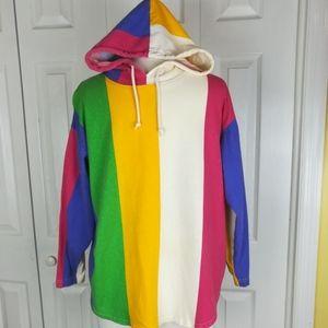 Vintage 80s striped color block hooded shirt